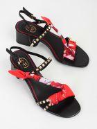 Ash Rockstud Sandals - Black Foulard Flowers Red