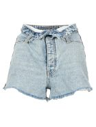 T by Alexander Wang Turn Down Waist Denim Shorts - PEBBLE LIGHT BLUE