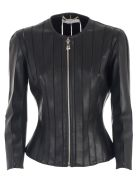 Versace Collection Jacket Leather W/tulle Inserts - Nero