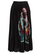 Valentino Pleated Midi Skirt - BLACK MULTICOLOR