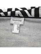 Valentino Black & Grey Wool And Silk Scarf - Grey/black