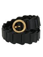 Bottega Veneta Leather Belt - Nero/gold