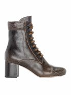 Miu Miu Boots LEATHER CRACKED LACED BOOTS
