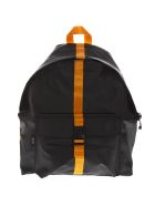 Eastpak Black Padded Backpack In Technical Fabric - Black/orange