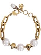 Alexander McQueen Chain Bracelet With Pearls - Gold