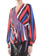 MSGM Fringed-trim Striped-satin Blouse - Multicolor