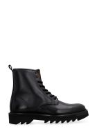 Ami Alexandre Mattiussi Leather Combat Boots - black