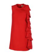 Valentino Wool And Silk Dress With Ruches - Red