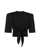 The Attico Cotton Crop T-shirt - black