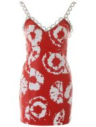 AREA Leather Mini Dress With Crystals - RED WHITE (Red)