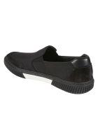 Prada Linea Rossa Side Logo Stitched Detail Loafers - Black/White