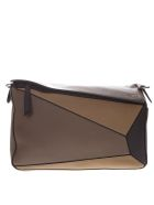 Loewe Taupe Puzzle Bag In Soft Grained Leather - Taupe/multicolor