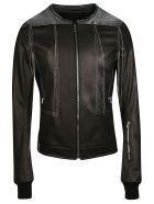 Rick Owens Contrast Stitch Leather Jacket - black