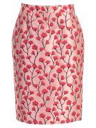 Be Blumarine Skirt Pencil Jacquard W/flowers - Rosa