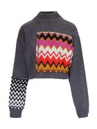 M Missoni Wool Sweater With Multicolor Zig Zag Inserts - Black