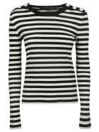 Veronica Beard Button Tab Top - Black/White