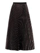 Miu Miu Printed Pleated Skirt - black