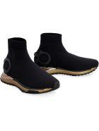 Salvatore Ferragamo Gardena Knitted Sock-style Sneakers - black