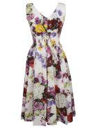 Dolce & Gabbana Floral Print Fitted Waist Dress - Hawortensie Fiori