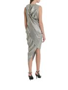 Balmain Hooded Laminated Draped Dress - Gold