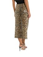 In The Mood For Love Leopard Print Sequined Skirt With Slit - Marrone