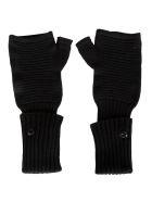 Stone Island Shadow Project Rib Knit Fingerless Gloves - Black