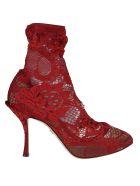 Dolce & Gabbana Floral Lace Pumps - red