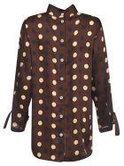Jejia Rear Buttoned Polka-dot Shirt - Brown