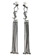 Saint Laurent Monogram Earrings In Metal And Glass With Textured Tassels - OXIDIZED SILVER