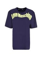 Love Moschino Logo Print Cotton T-shirt - blue