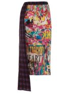Ultrachic Skirt Pencil Plisse Double Fantasy Elastic Waist - Tartan Ciclamino Murales