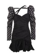 Giuseppe di Morabito Black Short Dress With Polka Dot Sleeves - Pois