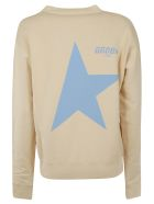 Golden Goose Long-sleeved Back Star Logo Print Sweatshirt - Cappuccino/blue