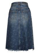 Balenciaga Frayed Hem Logo Denim Skirt - Blu