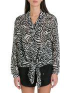 Saint Laurent Tie-up Shark-collar Shirt In Tiger Wool Gauze - Bianco/nero