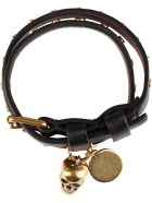 Alexander McQueen Skull Charm Leather Double-wrap Bracelet - black