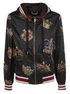 Dolce & Gabbana Crown Print Hooded Bomber - black