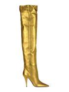 Saint Laurent Metallic Leather Kiki Boots - GOLD