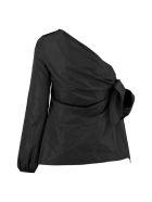N.21 Techno Satin One-shoulder Blouse - black
