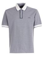 Z Zegna Contrast Piped Polo Shirt - Blue