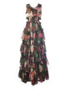 Dolce & Gabbana Floral Printed Evening Dress - Black