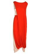 Marni Marni Draped Long Dress - ORANGE + RED