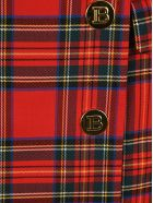 Balmain Tartan Mini Skirt - TARTAN RED