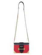 Prada Mini Cahier Shoulder Bag - Fuoco+nero