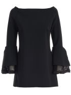 La Petit Robe Di Chiara Boni Dress 3/4s Boat Neck W/net Sleeve - Nero