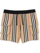 Burberry Ecru Cotton Icon Stripe Shorts - Check