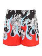 Prada Linea Rossa Hawaii Flame Shorts - NERO ROSSO|Rosso