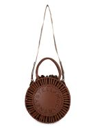 Stella McCartney Perforated Front Logo Bag - Saddle Brown