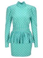 Alessandra Rich Polka-dot Dress - BLUE/WHITE