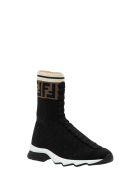 Fendi Rococo Socks Sneaker With Ff Band - Marrone